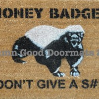 Honey Badger Don't Give a S#!t- Door mat outdoor houseware | Damn Good Doormats