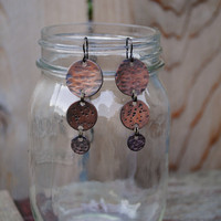 Pounded Copper Earrings with Niobium Hypoallergenic Ear Wires for Sensitive Ears