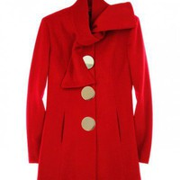 Red Single-breasted Slim Woolen Coat  style coat049 in Outerwear