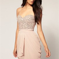 Sexy Sheath Strapless Sweetheart with Beadings Short Chiffon Prom Dress PD1966