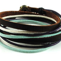 Soft Leather Multicolour Ropes Men or Women Leather Bracelet Wristband Cuff Bracelet 278S
