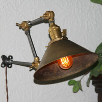 Industrial Articulating Wall Lamp with Vintage Style Brass Cone Shade