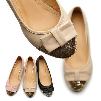 New Womens Shoes Ballet Flat Loafers Low Heels Cute Comfort Ribbon Accent