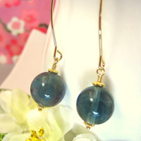 Blue flourite round drop gold hook earrings