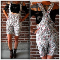 Vintage 90&#x27;s Floral Shortall Grunge Revival Romper Med/Lg