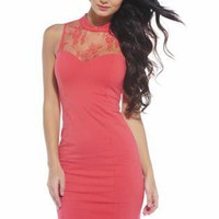 Coral Sleeveless Dress with Lace Neck and Keyhole Back