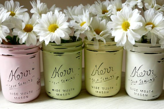 Girl - Dorm, Office and Home Decor Painted and Distressed Shabby Chic Mason Jar Vases - Pencil Holder