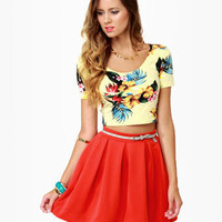 Cute Coral Red Skirt - Orange Skirt - Mini Skirt - Pleated Skirt - $42.00