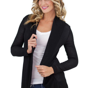 Solid Long Sleeve Open Cardigan Black - Black /