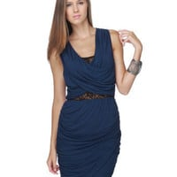Cute Navy Blue Dress - Cutout Dress - $63.00