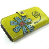 Women Wallet Leather - Flower in Lime Green