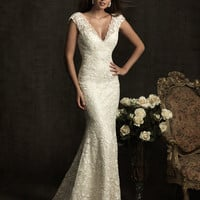 Ivory Lace &amp; Charmeuse Deep V Neckline Cap Sleeve Wedding Gown - Unique Vintage - Homecoming Dresses, Pinup &amp; Prom Dresses.