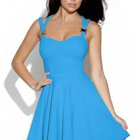 Bright Blue Cut Out Skater Dress with Sweetheart Neck