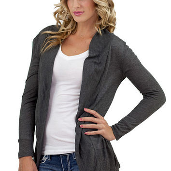 Solid Long Sleeve Open Cardigan Charcoal - Charcoal /