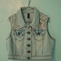 Spiked & Studded Denim Vest