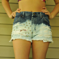 High Waisted, Dip Dyed Destroyed & Studded Vintage Jean Shorts
