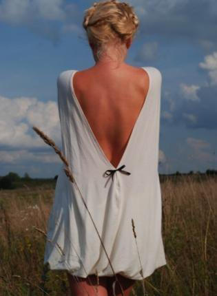 Cream Long Sleeve Open Back Dress Milk and honey Muse