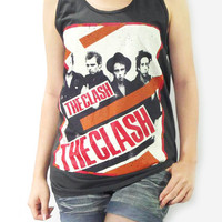 THE CLASH Vintage Classic British Band Music Shirt Black T-Shirt Singlet Vest Women Tank Top Tunic Tank Sleeveless Indie Rock T-Shirt Size M