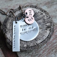 "Two Tone Running Pendant with 26.2, 13.1, and Soul Sister Charms reads ""Running is my Superpower"" on Copper Ball Chain Necklace"