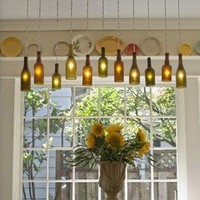 For the Home / DIY wine-bottle chandelier!!! Love this!