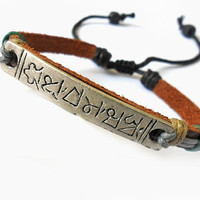 jewelry bangle leather bracelet men bracelet women bracelet made of leather Ropes and metal wrist bracelet SH-0256