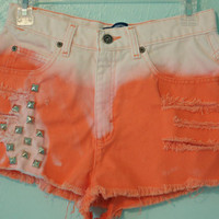 Tangerine Dip Dyed High Waisted Shorts with Studs and Rips