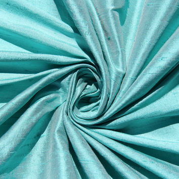 Tiffany Blue Wedding Bridal 100% Dupioni Silk Fabric Wholesale Roll/ Bolt