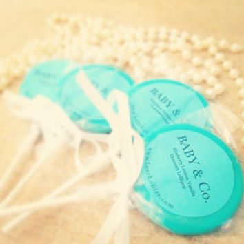 Tiffany's Inspired Gourmet Lollipops  - Set of 20 - Tiffany's Baby Shower Favors - Tiffany's Bridal Shower - Tiffany Blue