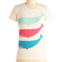 ModCloth Nautical Mid-length Short Sleeves A Whale-y Good Time Top
