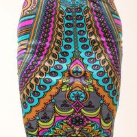 MULTICOLOURED TRIBAL MULTI KNIT PENCIL SKIRT @ KiwiLook fashion