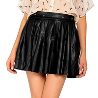 Spiked Leather Skater Skirt - 2020AVE