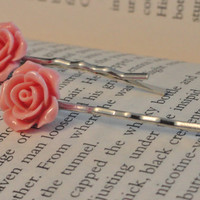 2 Dusty Rose Pink Bobby Pins - Rose Hair Pins