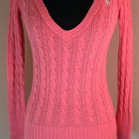 Abercrombie Girls Sweater pink corded v-neck pink sz Large cotton rabbit hair