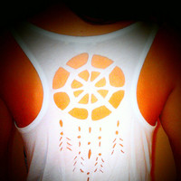 SALE Long White & Black Boho Wrap Around Wing Racerback Tank Top with a Cutout Dreamcatcher Design Back Feather Hipster Medium Fashion