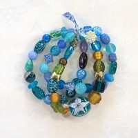 Beaded Stretch Bracelet in Shades of Mostly Blue, 3 strands, by Jan4insight