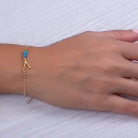 "Wishbone bracelet, turquoise bracelet, turquoise and gold, wish bracelet, bridesmaid bracelet, best friend bracelet, gold bracelet, ""Sybaris"