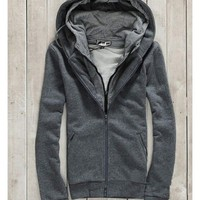 Zipper Blend Two Pieces Dark Grey Casual Hoodie With Cap M/L/XL@X303NH6S5F10g
