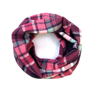 Toddler Girls Scarf Plaid Flannel Scarf Childs Winter Scarf Pink Purple Green Holiday Gift Ready to Ship