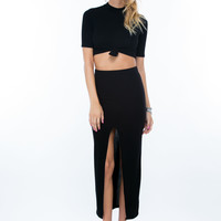 Front And Center Cut-Out Maxi Skirt