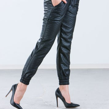 Quilty Feeling Faux Leather Joggers
