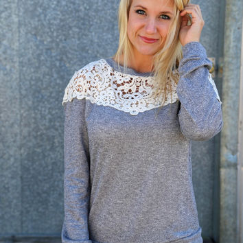 Vintage Crochet Knit {Gray}