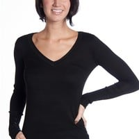 Everyday V Neck Button Detailed Sweater - Black
