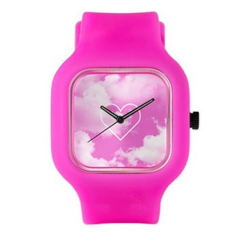 Pink Clouds Heart Watch
