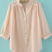 Pink Crochet Flower Shoulder Puff Sleeve Blouse - Sheinside.com