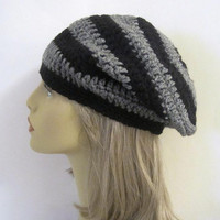 Black and Grey Striped Slouchy Beanie Hat - Crochet Beanie Hat