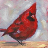Red Cardinal Bird Painting Original Oil on 5x5 inch Panel