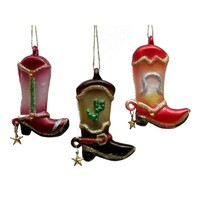 SheilaShrubs.com: Glass Western Boot Ornament (Set of 3) 0197-149569 by IWGAC: Christmas Tree Ornaments