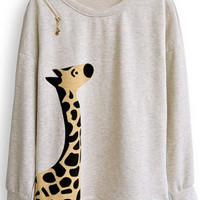 Beige Giraffe Print Batwing Long Sleeve Zipper Embellished Sweatshirt - Sheinside.com