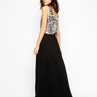 Warehouse Double Layer Sequin Maxi Dress