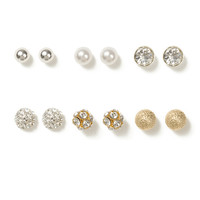 Any Occasion Crystal and Ball Stud Earrings Set of 6